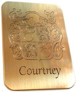 YOUR FAMILY CREST ENGRAVED ON BRASS PLAQUE