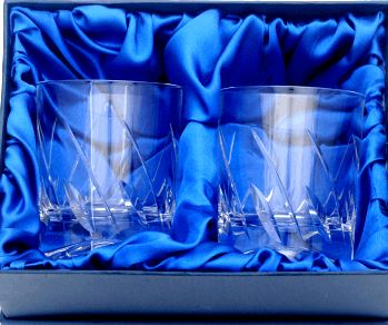PAIR OF FLARE HANDCUT CRYSTAL WHISKY GLASSES IN PRESENTATION BOX
