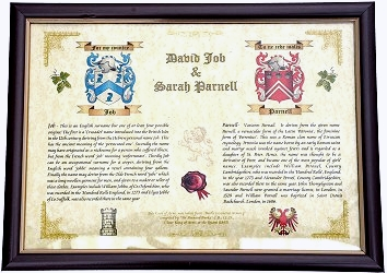 Colour crest on parchment style card framed