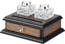 Pair of Crystal Inkwells on stand with drawer