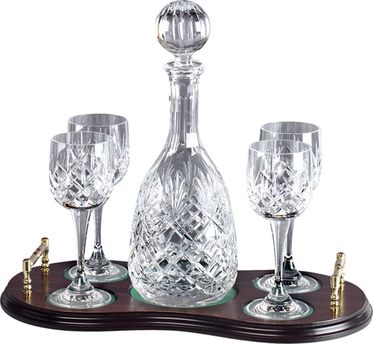 Wine Decanter and 4 glasses on tray