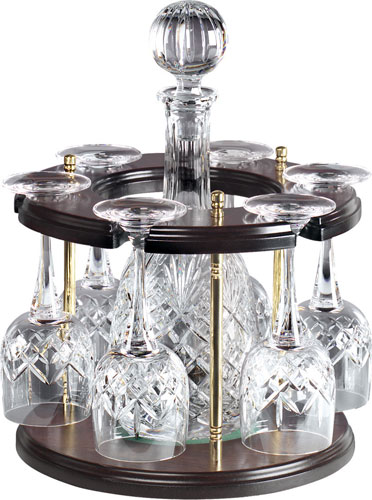 CHELSEA CRYSTAL WINE DECANTER AND 6 GLASSES ON WOODEN STAND
