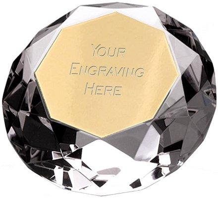 brass effect plaque on diamond