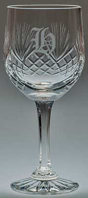 CRYSTAL HAND CUT GOBLET with 'H' engraved in Old English font
