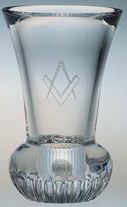 CRYSTAL FIRING GLASS with masonic symbol engraved