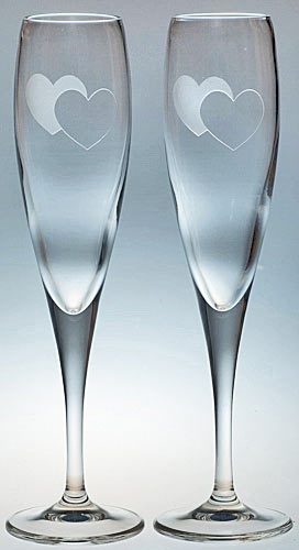 PAIR OF HEART FLUTES