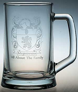 Tankard with Mcguinness Family Crest and motto engraved