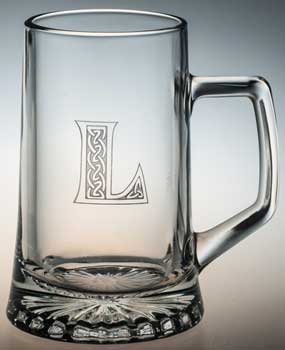 tankard engraved with letter L