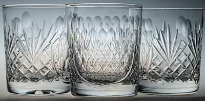 PAIR COUNTY WHISKY GLASSES PANELS CUT WITH DIMPLE