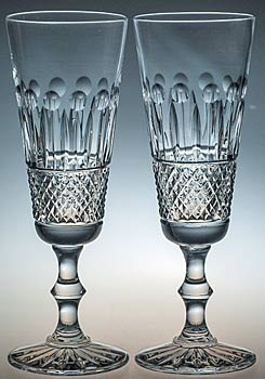 PAIR of CRYSTAL HAND CUT FLUTE GLASSES