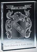 YOUR FAMILY CREST ENGRAVED ON GLASS PICTURE