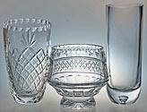 crystal bowls, engraved bowls