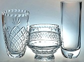 crystal bowls and vases, engraved bowls