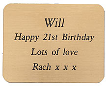ENGRAVED BRASS PLAQUE 45X35mm