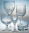 engraved crystal glass, tot, hiball, engraved tumbler, engraved flute glass