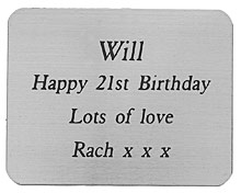 ENGRAVED SILVER COLOUR PLAQUE 45X35mm