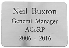 engraved silver colour plaque 65x45